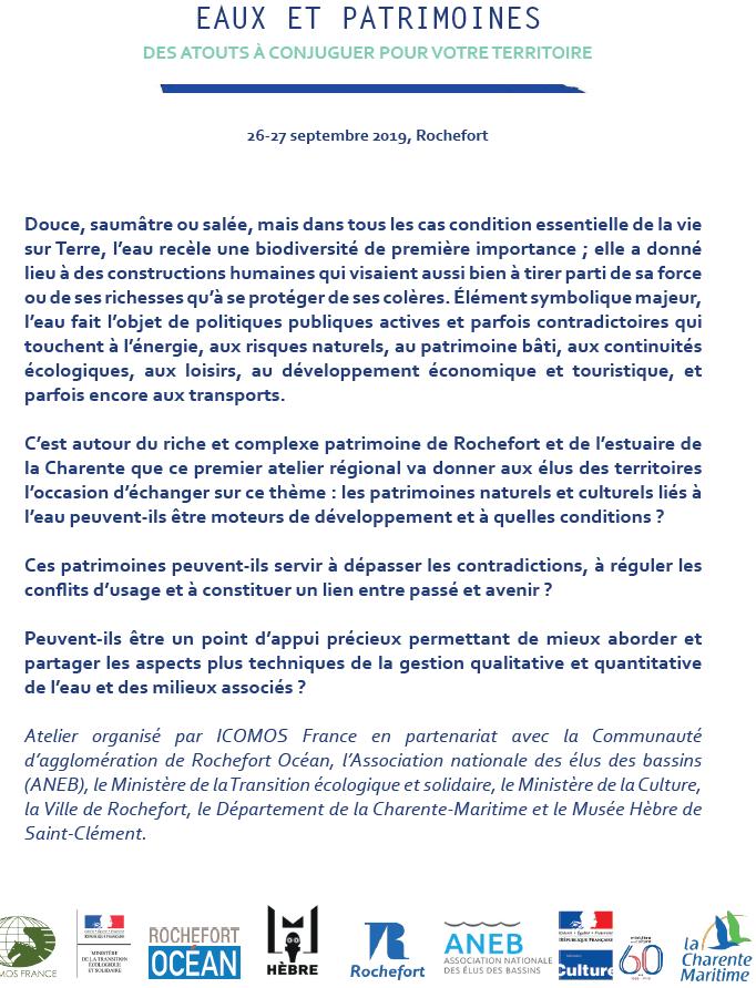 Icomos Ateliers Eaux Et Patrimoines A Rochefort