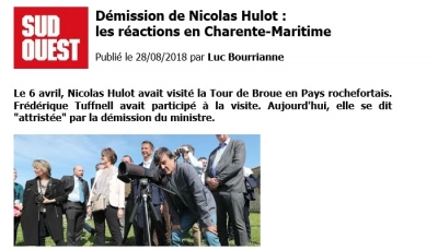 Article SudOuest du 28 août 2018 : Démission de Nicolas Hulot